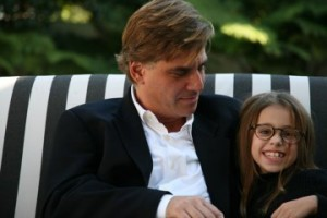 Aaron Sorkin with his daughter