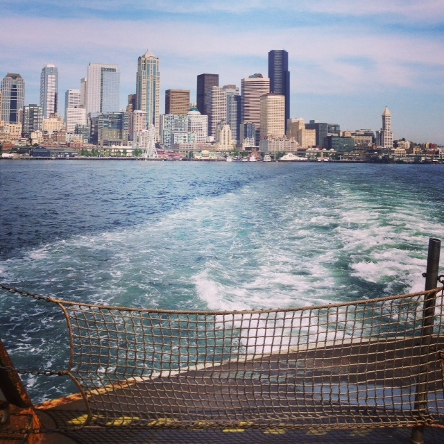 On the ferry- goodbye Seattle!