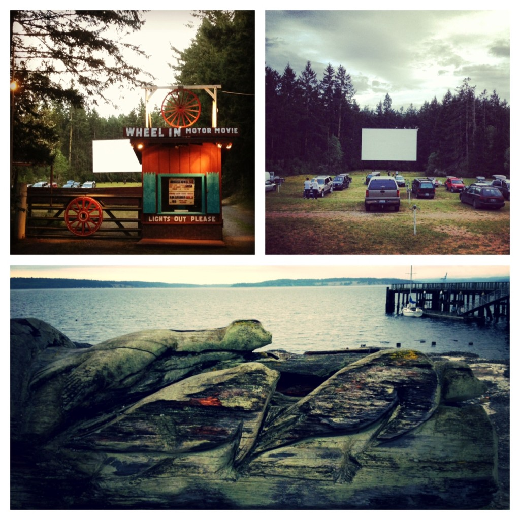 the local drive-in where we caught a movie; local art on the beach