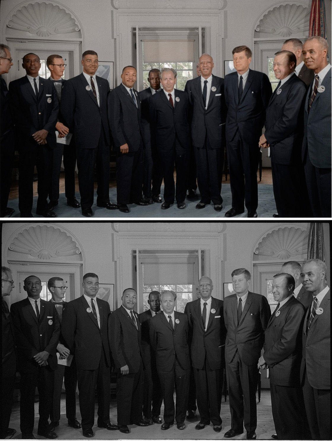 Civil rights leaders meet with President John F. Kennedy in the oval office of the White House after the March on Washington. Colorized by .
