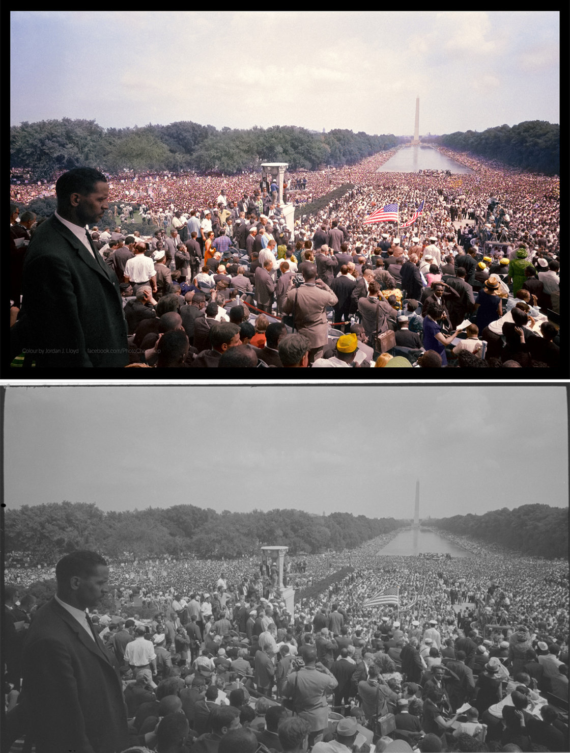View of the huge crowd from the Lincoln Memorial to the Washington Monument. Colorized by .