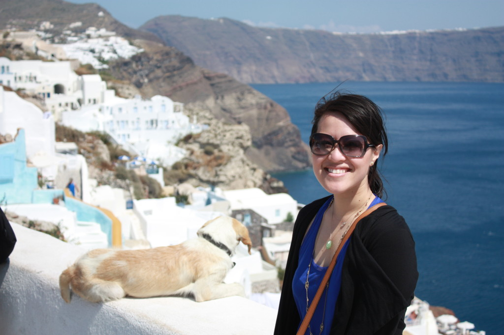 Hanging out with one of the many free-roaming town dogs in Oia, Santorini