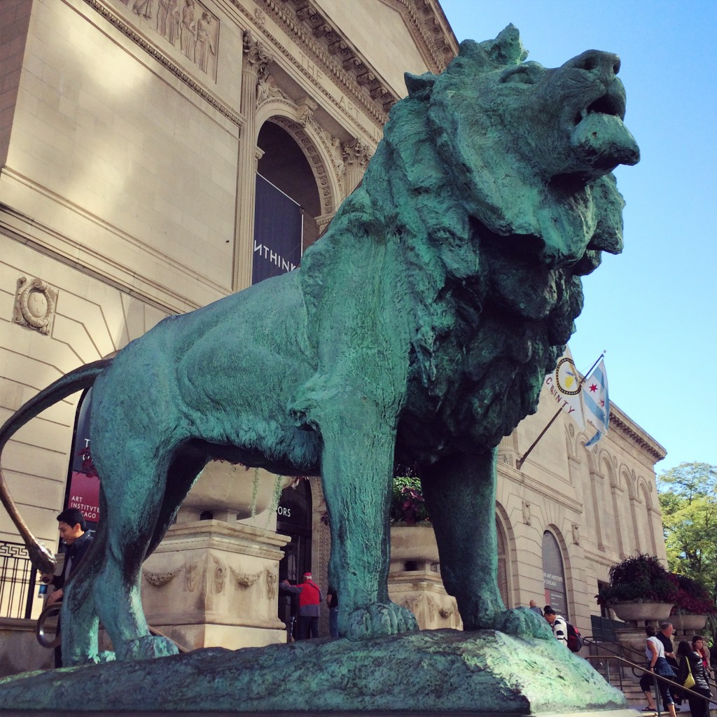 The handsome lions at the Art Institute entrance