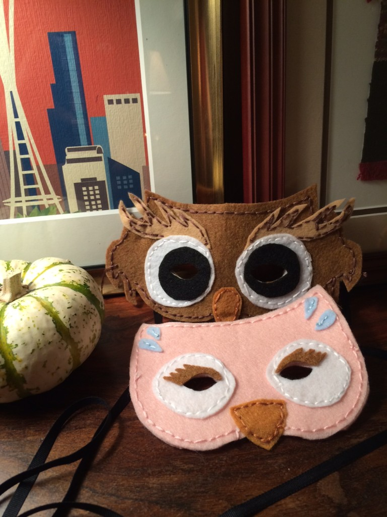 Our owl masks with the not-quite-big-enough eye holes